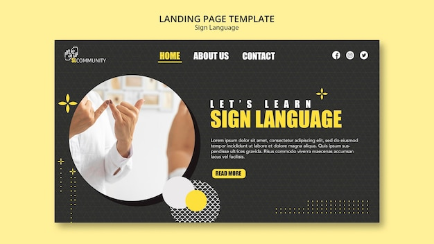 Landing page template for sign language communication