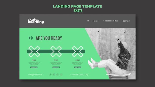 Landing page template for skateboarding with female skateboarder