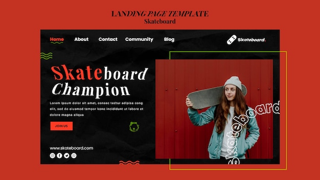 Landing page template for skateboarding with woman