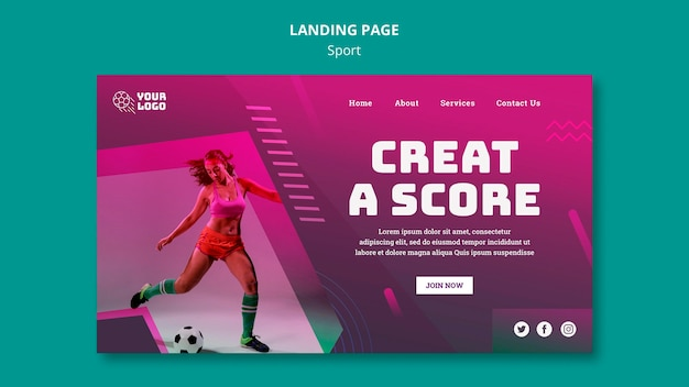 Landing page template soccer training