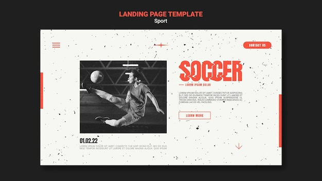 Landing page template for soccer with female player