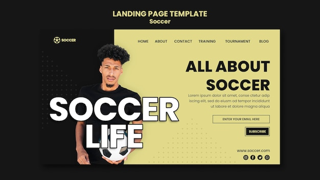 Landing page template for soccer with male player