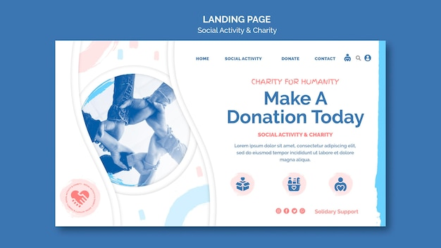 Landing page template for social activity and charity