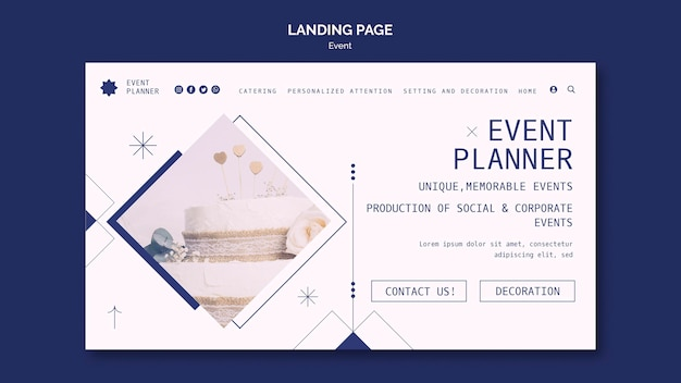 Landing page template for social and corporate event planning