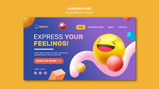 Landing page template for social media app emoticons