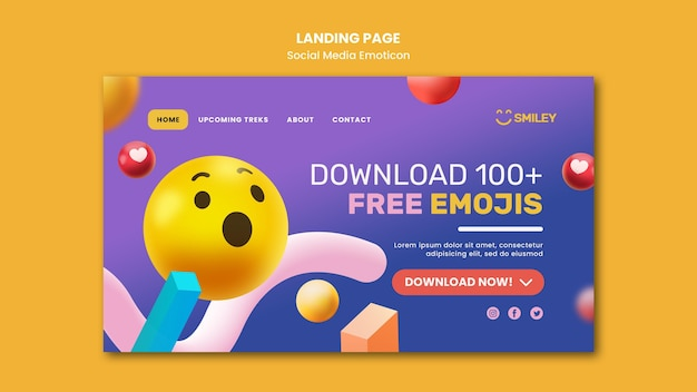 Landing page template for social media app emoticons Premium Psd
