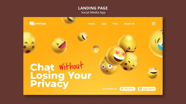 Landing page template for social media chatting app with emojis