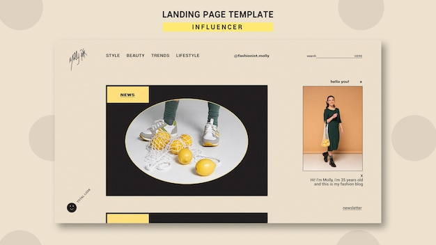 Landing page template for social media fashion influencer