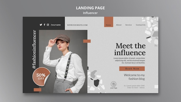 Landing page template for social media female influencer