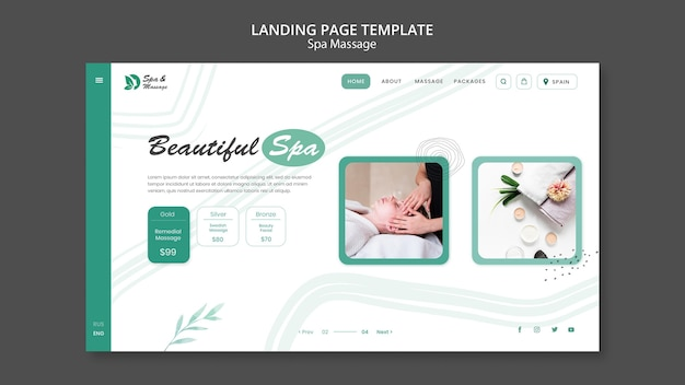 Landing page template for spa massage with woman