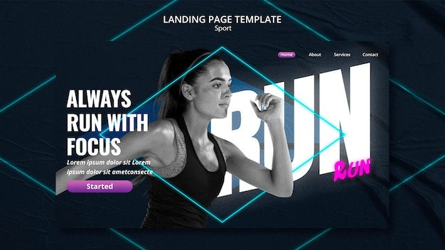 Landing page template sport concept