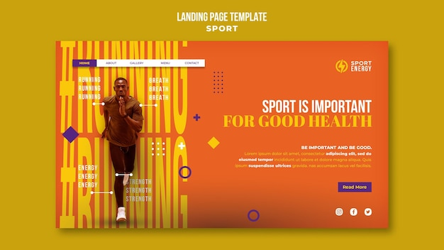 Landing page template for sport with motivational quotes