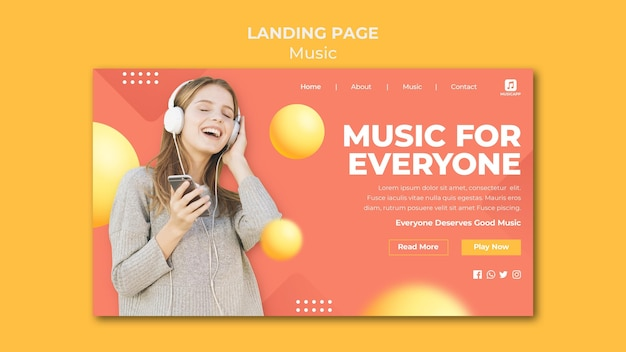 Landing page template for streaming music online with woman wearing headphones
