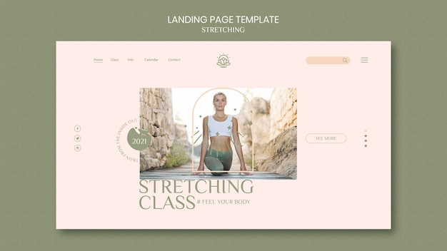 Landing page template for stretching course