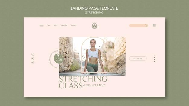 Modello di pagina di destinazione per il corso di stretching