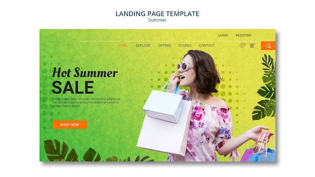 Landing page template summer sale