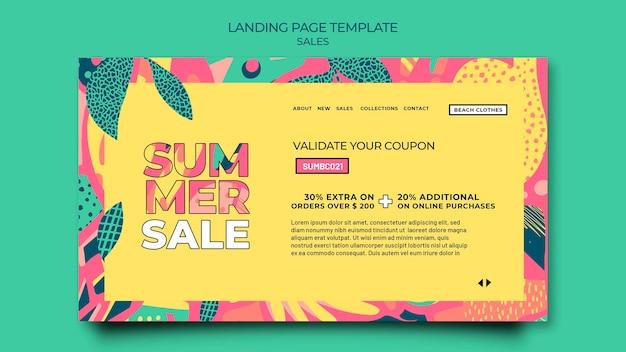 Modello di pagina di destinazione per la vendita estiva