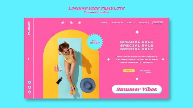 Modello di pagina di destinazione per i saldi estivi