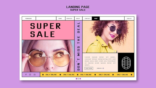 Landing page template for sunglasses super sale