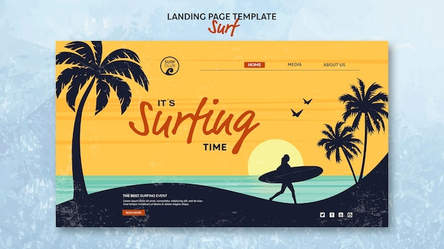 Landing page template for surfing time