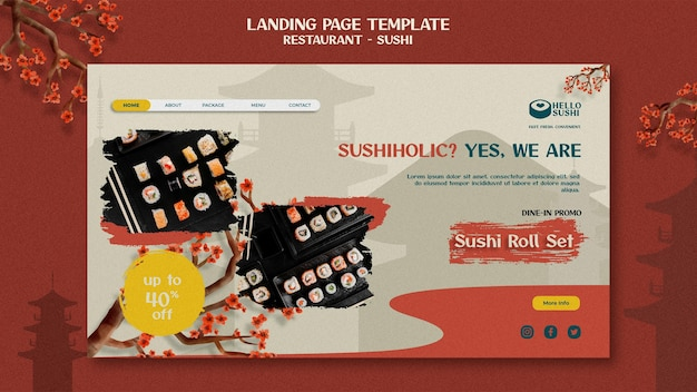 Landing page template for sushi restaurant