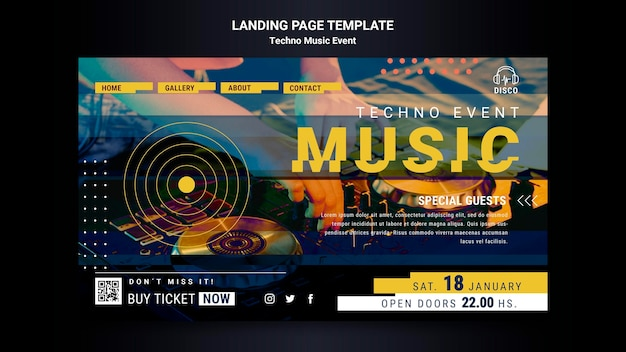 Landing page template for techno music night party