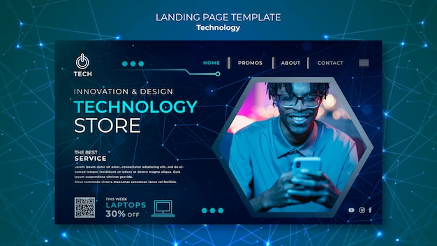 Landing page template for techno store