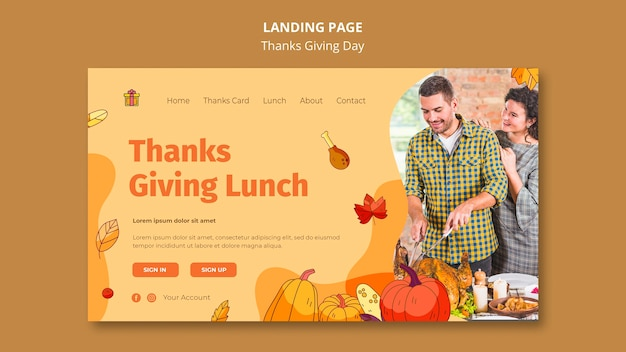 Landing page template for thanksgiving celebration