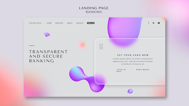 Landing page template for transparent and safe banking