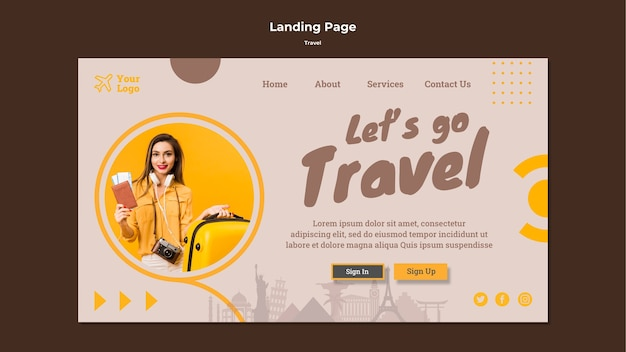 Landing page template for traveling adventure time