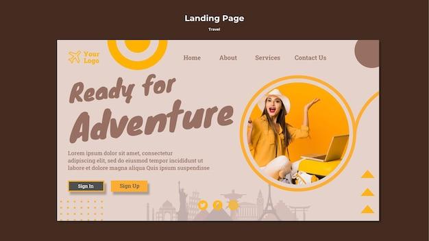 Modello di pagina di destinazione per viaggiare in tempo di avventura