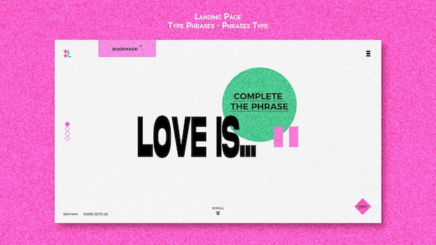 Landing page template for type phrases