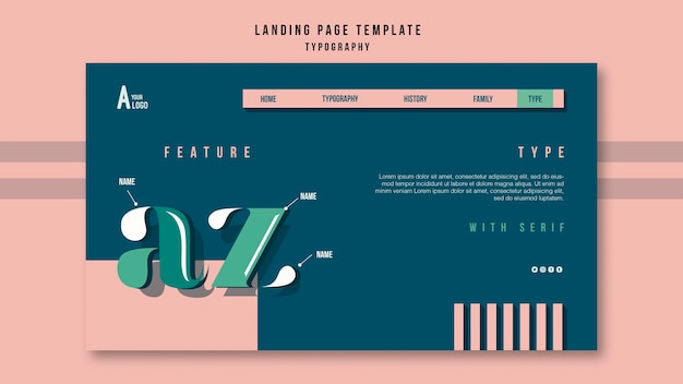 Landing page template typography