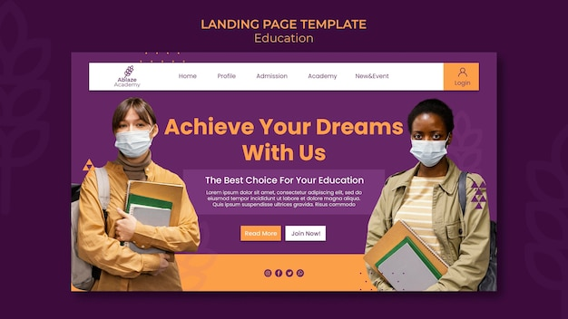 Landing page template for university education