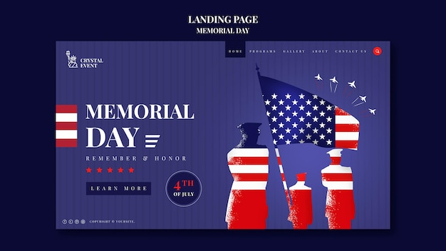 Landing page template for usa memorial day