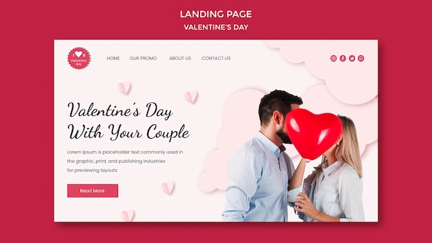 Landing page template for valentine's day with couple in love