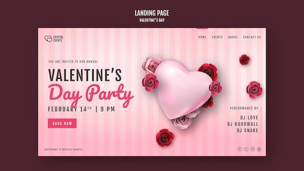 Modello di pagina di destinazione per san valentino con cuore e rose rosse