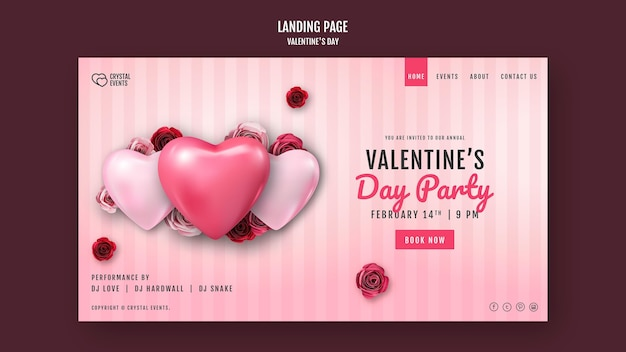 Landing page template for valentine's day with heart and red roses