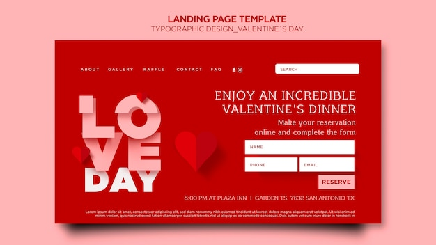 Landing page template for valentine's day with hearts