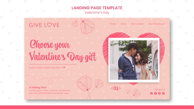 Landing page template for valentine's day with photo of couple