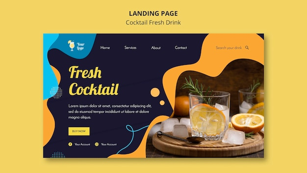 Landing page template for variety of cocktails
