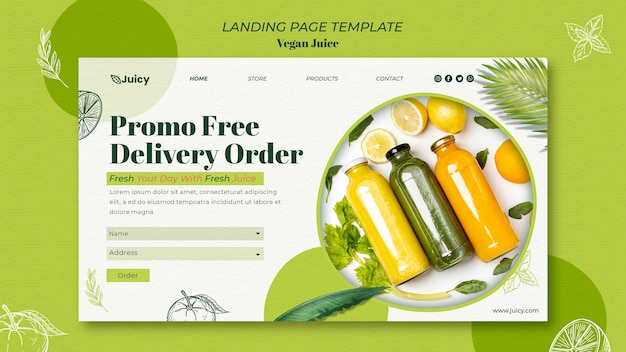 Landing page template for vegan juice delivery company
