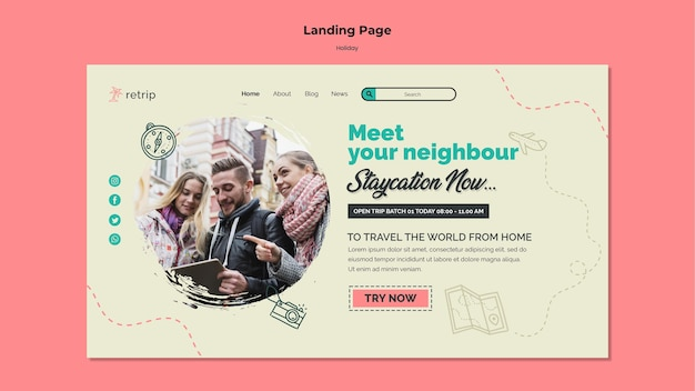 Landing page template for virtual reality holiday trip