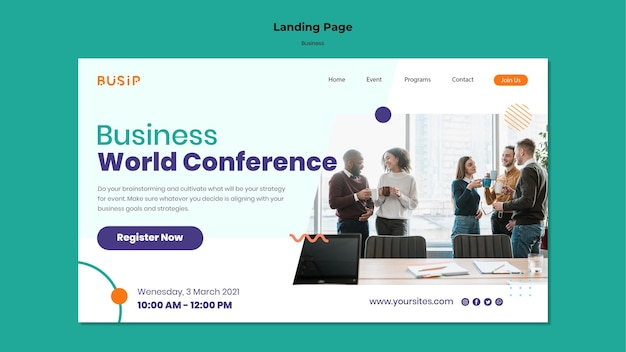Landing page template for webinar and business startup