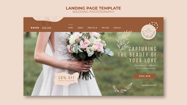 Landing page template for wedding photography service