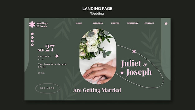 Landing page template for wedding