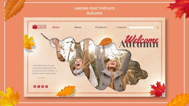 Landing page template for welcoming autumn season