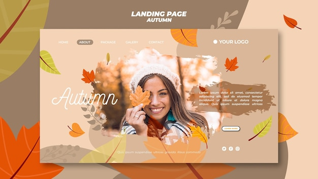 Landing page template for welcoming the autumnal season