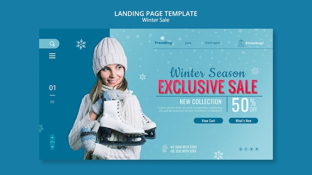 Landing page template for winter sale with woman and snowflakes
