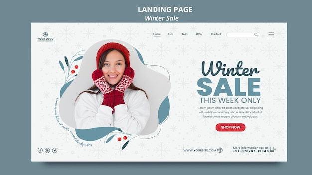 Landing page template for winter sale